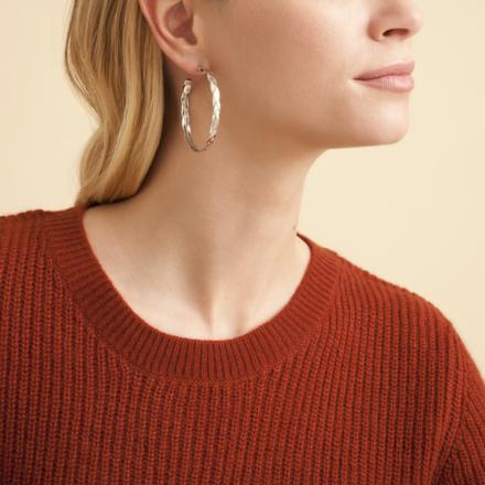 Tresse hoop earrings medium size silver
