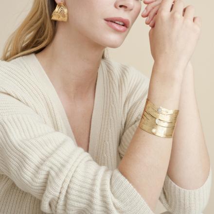 Wave cabochons hoop earrings gold
