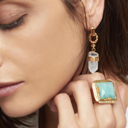 Aventura earrings gold - Amazonite