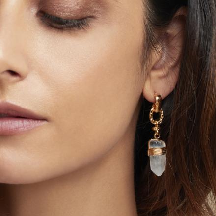 Cristal earrings gold - Rock crystal