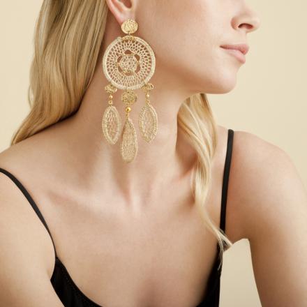 Fanfaria raffia earrings gold
