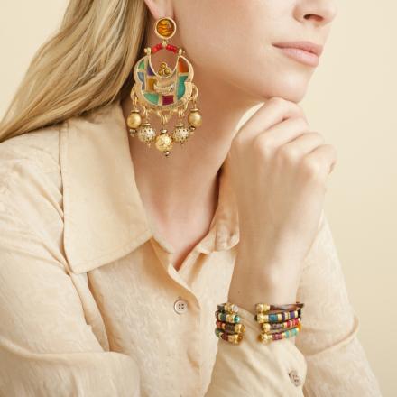 Havana enamel earrings gold