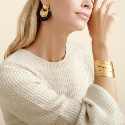 Luna Wave raffia earrings mini gold