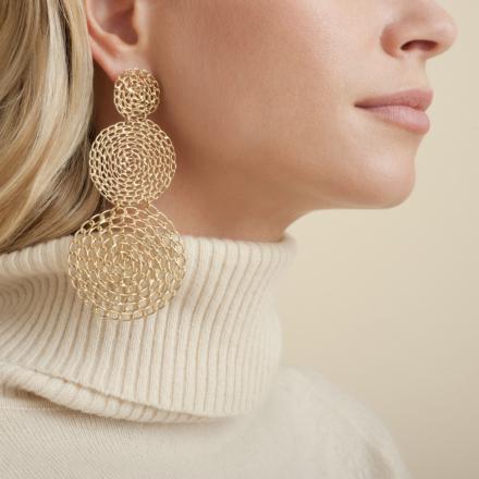 Onde Gourmette double earrings gold