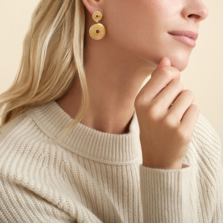 Onde Lucky cabochons earrings mini gold