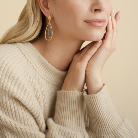 Serti Cage earrings small size gold