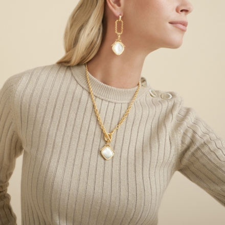 Siena necklace gold - Grey mother-of-pearl