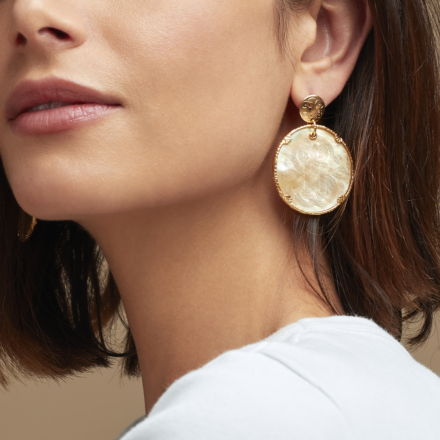 Sun Diva earrings mother-of-pearl large size gold