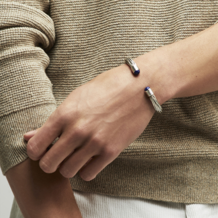 Ariane cabochons men bracelet large size silver