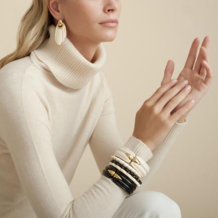 Ecume bracelet acetate gold - Black