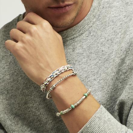 Torsade men bracelet silver