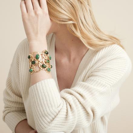 Olympie cabochons bracelet gold - Exclusive piece (2 pieces)