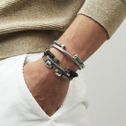 Sari Bis men bracelet acetate silver
