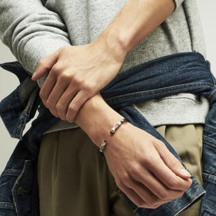 Sari wrapped men bracelet silver