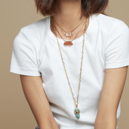 Aventura Serti long necklace large size gold - Green Jasper