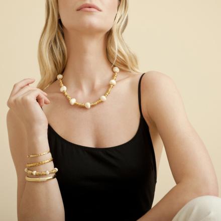 Biba necklace gold - Ivory