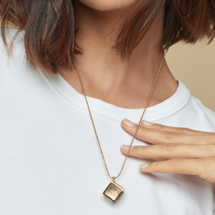 Cage Cristal long necklace small size gold