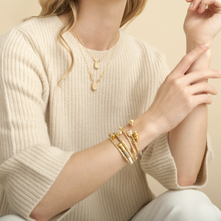 Totem enamel scapulaire necklace gold - Pink October