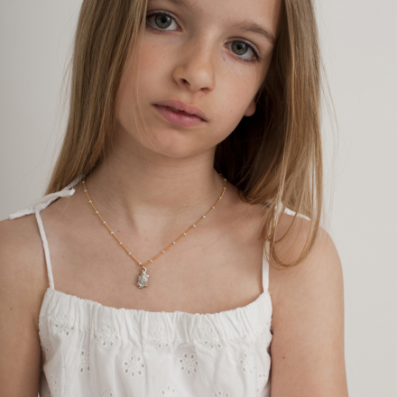 Turtle mother-of-pearl kids necklace mini gold
