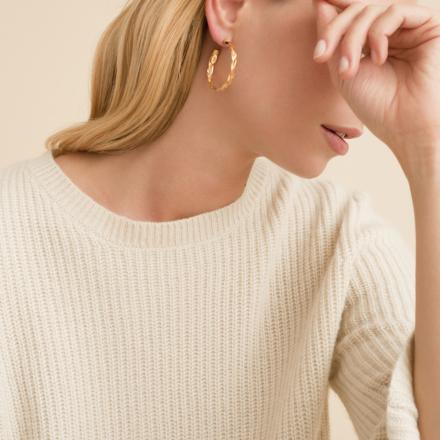 Tresse hoop earrings small size gold