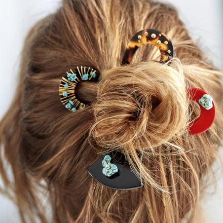Celeste David Lucas hair jewelry large size acetate gold - Ivory
