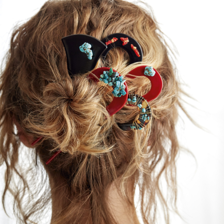 Caftan Turquoise David Lucas hair jewelry small size acetate gold - Red