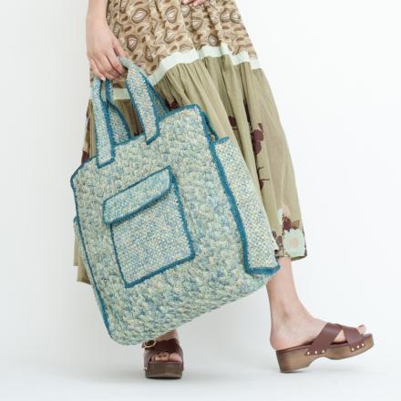 City Tote bag large size raffia