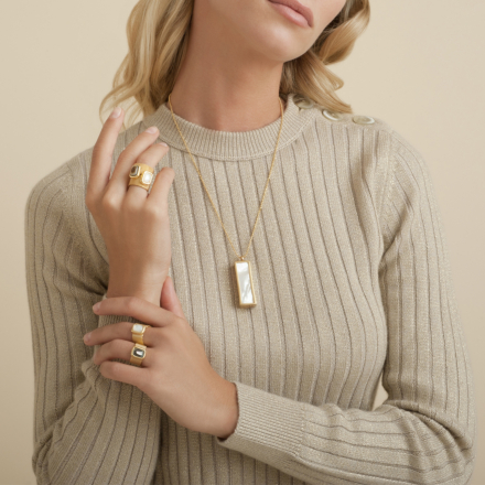 Cage Cristal long necklace gold