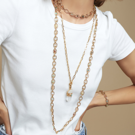 Aventura Serti long necklace small size gold - Rock crystal