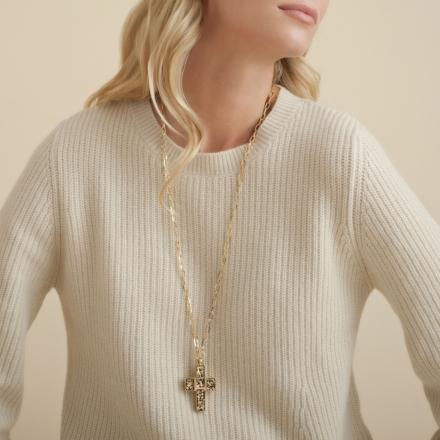 Croix Serti long necklace gold - Exclusive piece (3 pieces)